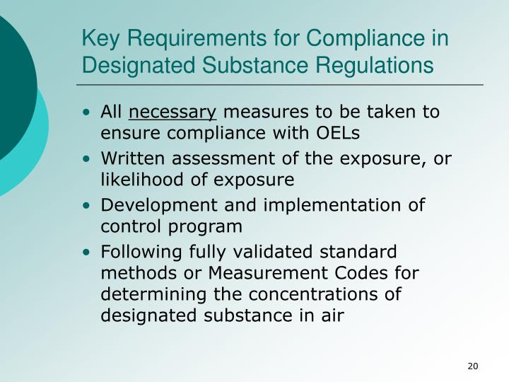 Key Requirements for Compliance in Designated Substance Regulations