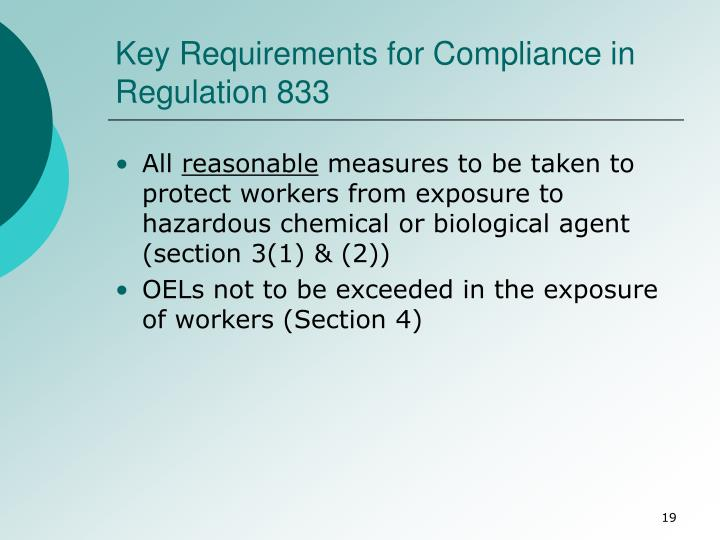 Key Requirements for Compliance in Regulation 833