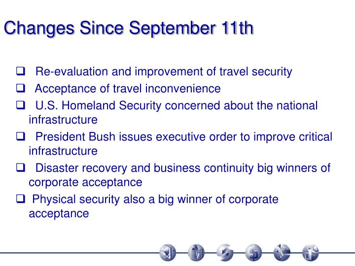 Changes Since September 11th