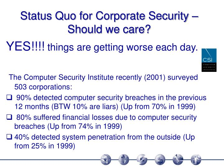 Status Quo for Corporate Security – Should we care?