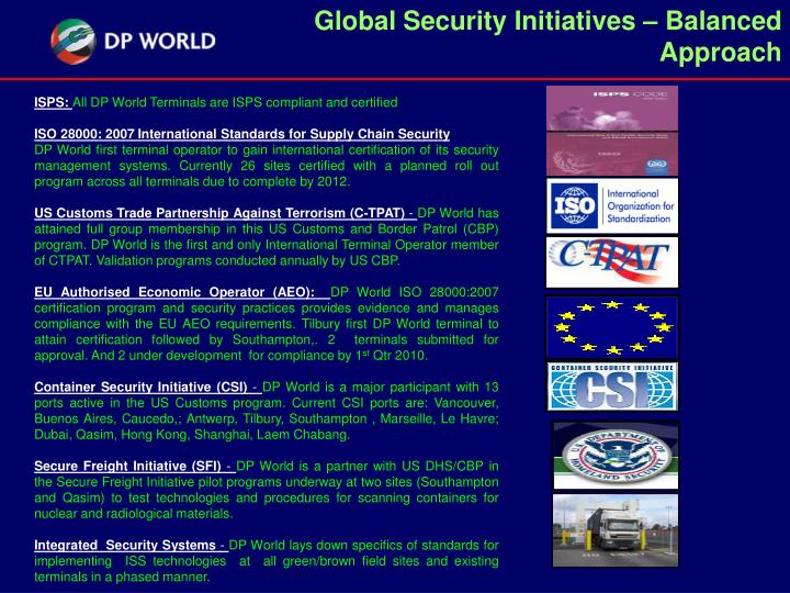 Global Security Initiatives – Balanced Approach