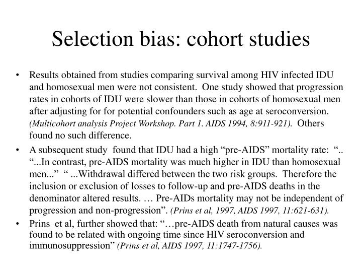 Selection bias: cohort studies