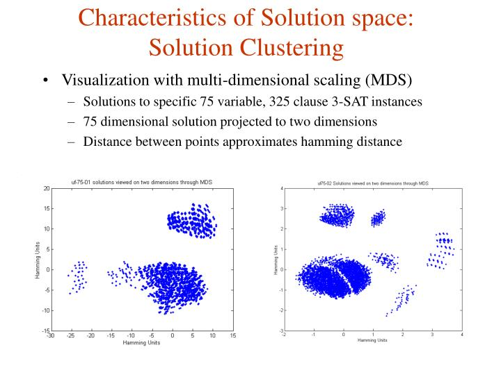 Characteristics of solution space solution clustering