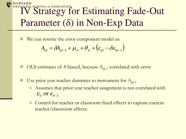 IV Strategy for Estimating Fade-Out Parameter (