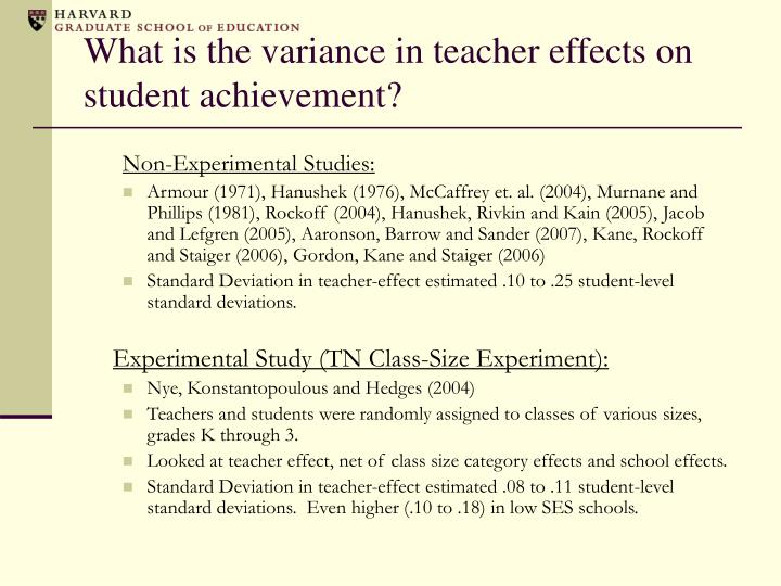 What is the variance in teacher effects on student achievement?