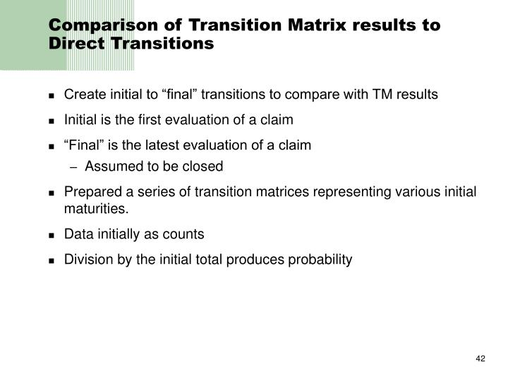 Comparison of Transition Matrix results to Direct Transitions