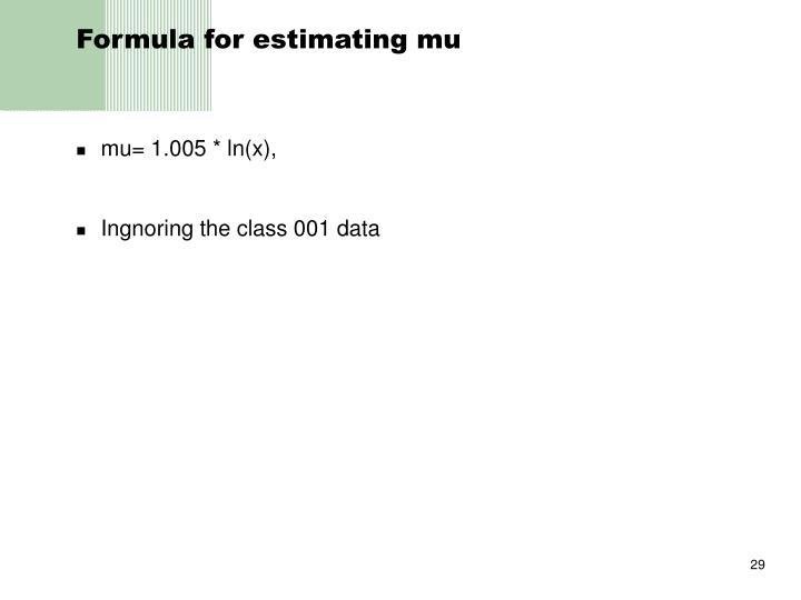 Formula for estimating mu