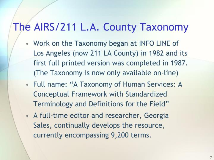 The AIRS/211 L.A. County Taxonomy