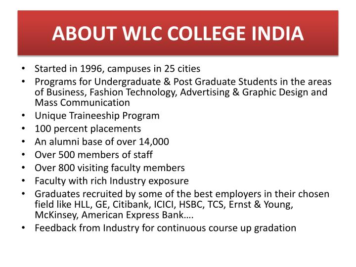 About wlc college india