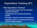 expenditure tracking et