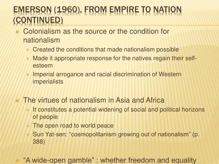 Colonialism as the source or the condition for nationalism