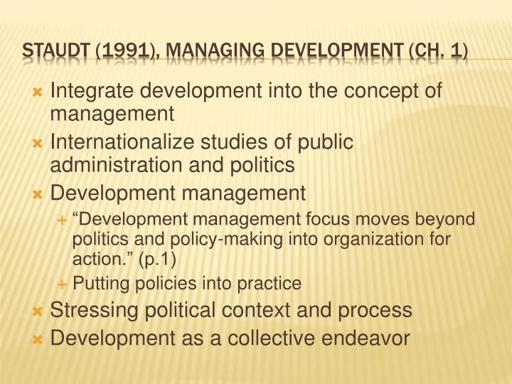 Integrate development into the concept of management