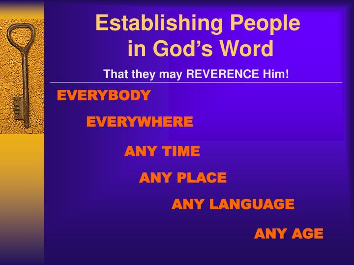 Establishing people in god s word