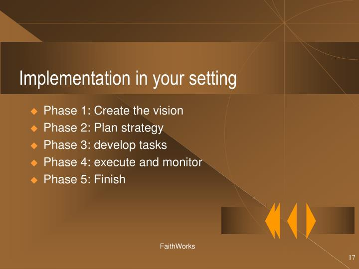 Implementation in your setting