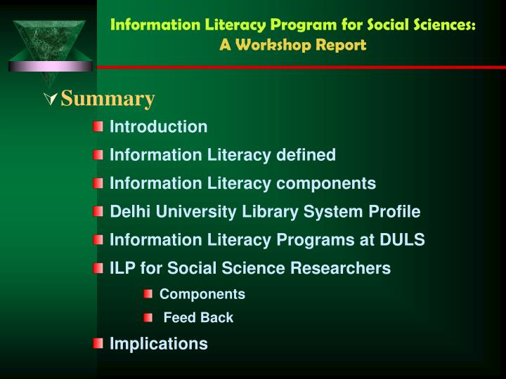 Information literacy program for social sciences a workshop report1