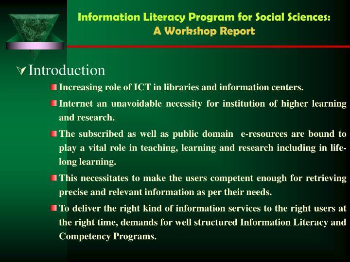 Information literacy program for social sciences a workshop report2