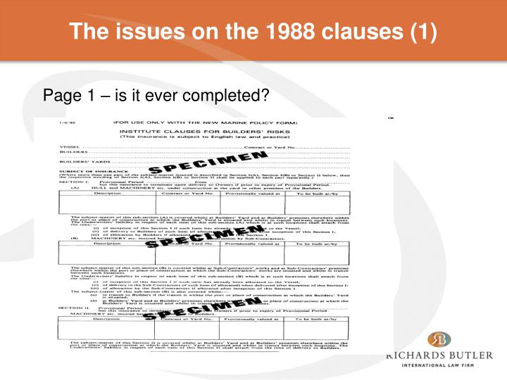 The issues on the 1988 clauses (1)