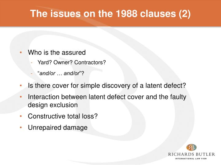 The issues on the 1988 clauses (2)