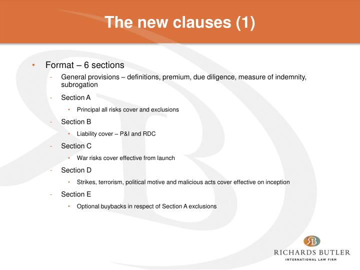 The new clauses (1)