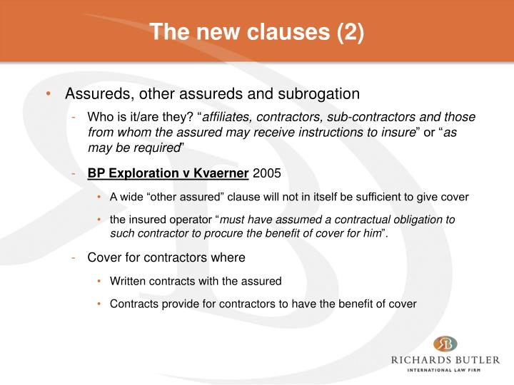 The new clauses (2)
