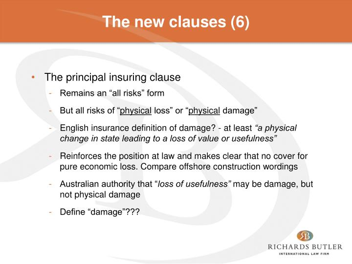 The new clauses (6)