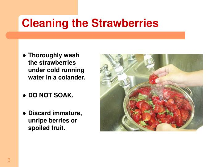 Cleaning the strawberries