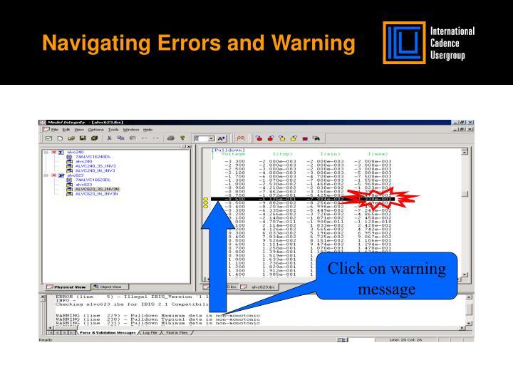 Navigating Errors and Warning