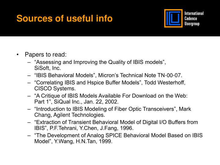 Sources of useful info
