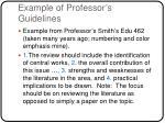 example of professor s guidelines