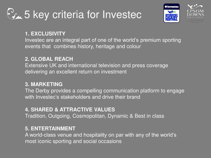 5 key criteria for Investec
