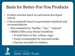 basis for better for you products