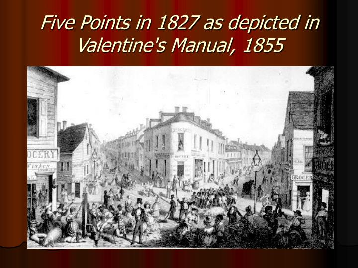 Five Points in 1827 as depicted in Valentine's Manual, 1855
