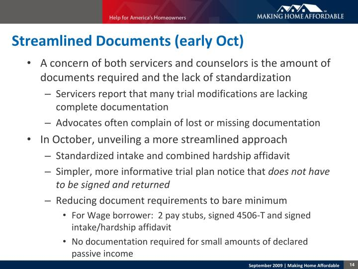 Streamlined Documents (early Oct)