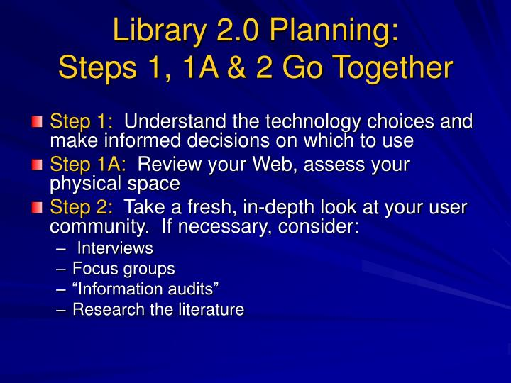 Library 2.0 Planning: