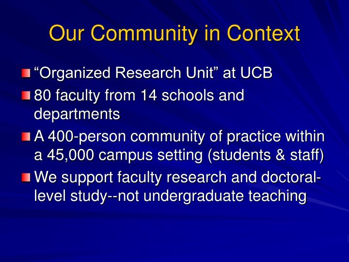 Our Community in Context