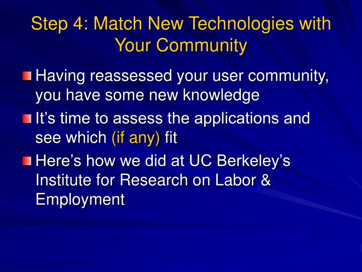 Step 4: Match New Technologies with Your Community