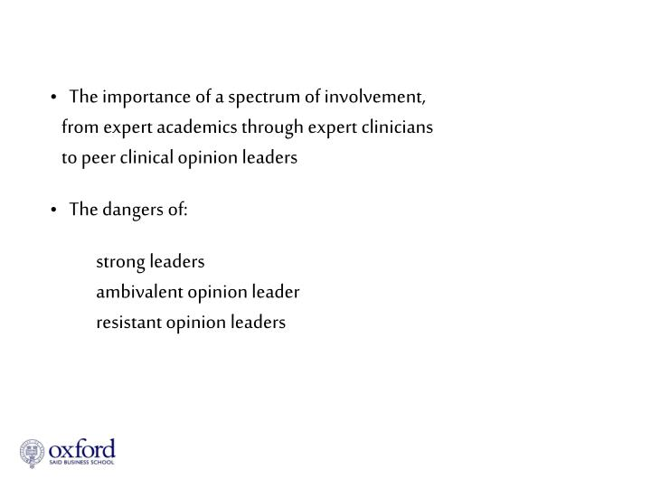 The importance of a spectrum of involvement,