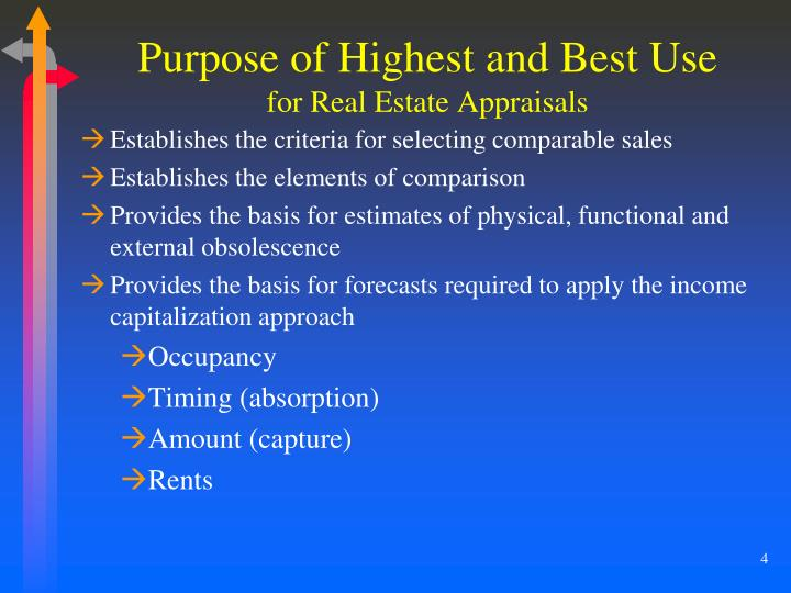 Purpose of Highest and Best Use