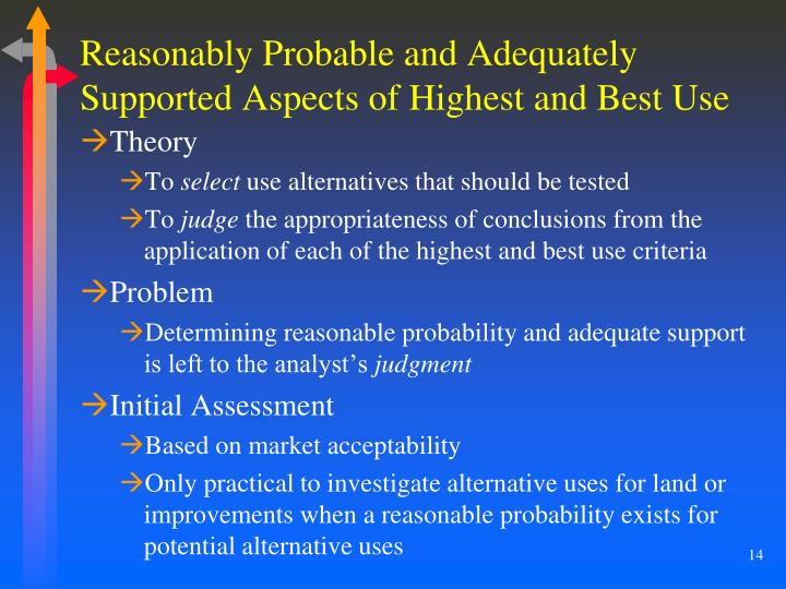 Reasonably Probable and Adequately Supported Aspects of Highest and Best Use