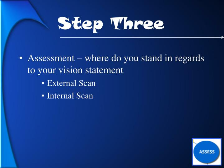 Assessment – where do you stand in regards to your vision statement