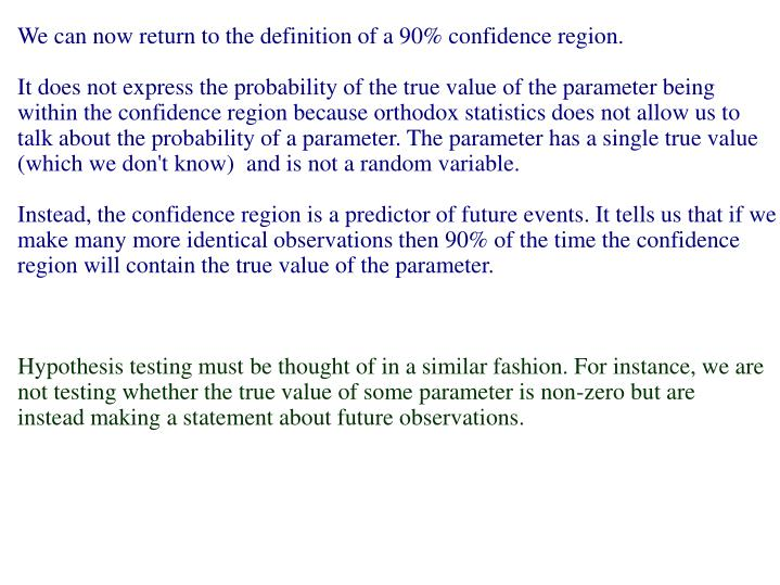 We can now return to the definition of a 90% confidence region.