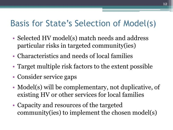 Basis for State's Selection of Model(s)