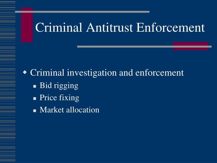 Criminal Antitrust Enforcement