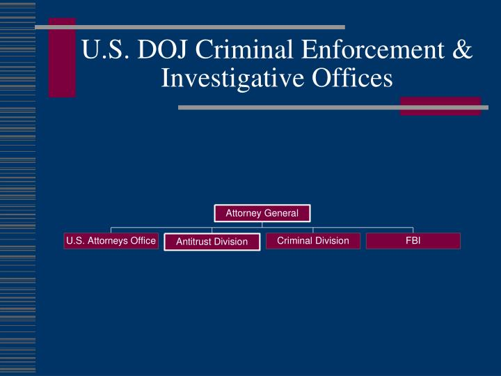 U s doj criminal enforcement investigative offices