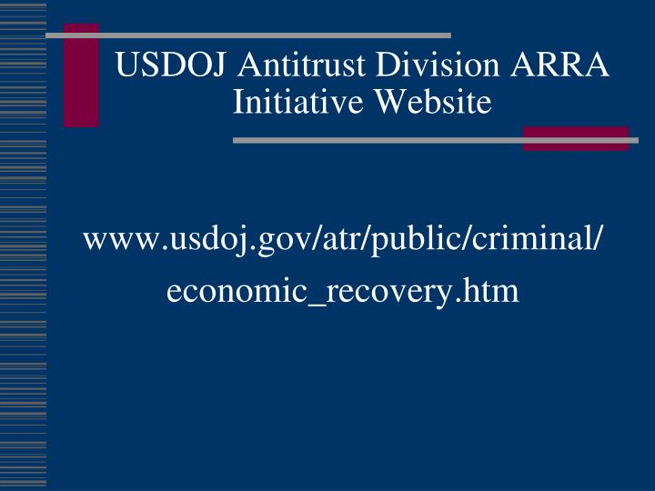USDOJ Antitrust Division ARRA Initiative Website