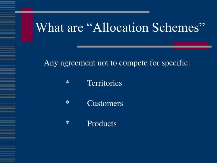"""What are """"Allocation Schemes"""""""