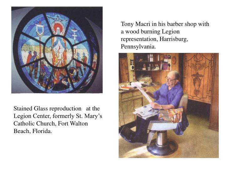 Tony Macri in his barber shop with a wood burning Legion representation, Harrisburg, Pennsylvania.