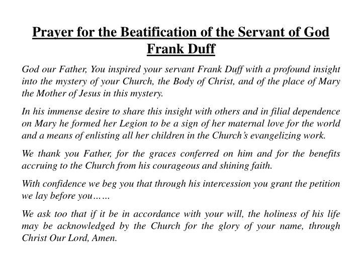Prayer for the Beatification of the Servant of God Frank Duff