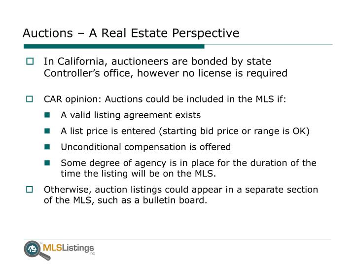 Auctions a real estate perspective
