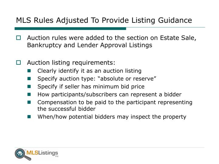 MLS Rules Adjusted To Provide Listing Guidance
